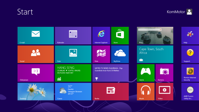 Tampilan Metro di Windows 8