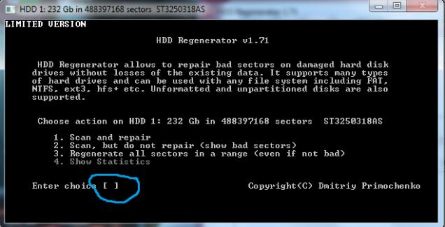 HDD Regenerator-Ketik Angka 1