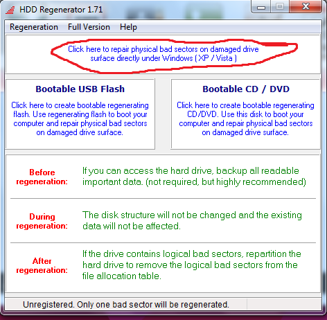 HDD regenerator-langkah 1