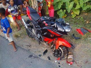Ninja 150RR Merah-Kecelakaan