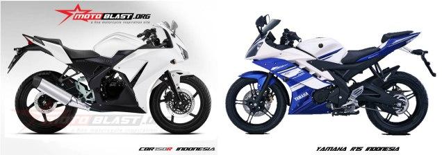 Honda CBR 150R Indonesia VS Yamaha R15 Indonesia-Sumber Motoblast.org