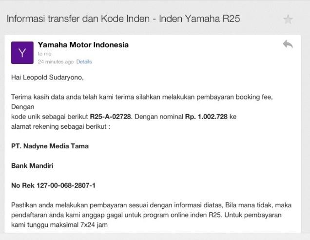 Konfirmasi Nomor Indent Online Yamaha R25
