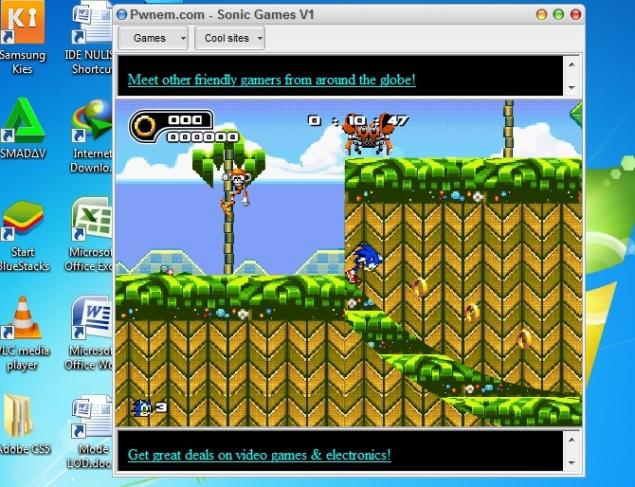 Tampilan Sonic Games Layar Sedang