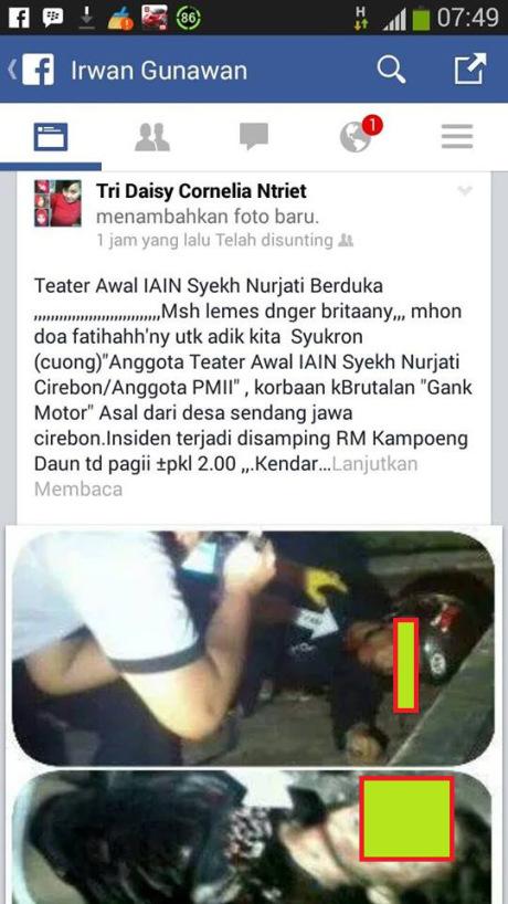Korban Kebrutalan Geng Motor Cirebon